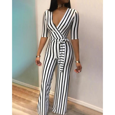 Elegant V-Neck Striped Women's Jumpsuits-Casual, Clothing, Fashion, Jumpsuits, Overalls, Striped, V-Neck, Women-LeStyleParfait.Co.Ke