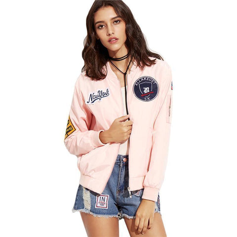 Embroidered Bomber Jacket Twin Pockets Zipper Women Jacket-Jacket-One Size-Le Style Parfait Kenya