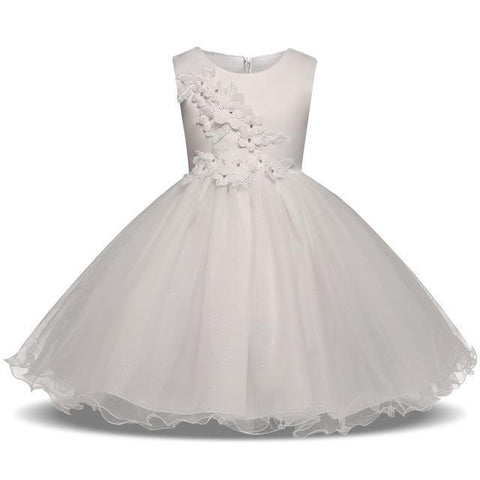 Fancy Girls Dresses Christmas or Wedding Dresses 1- 8 Years White Pink-Girls Dresses-Kenya-LeStyleParfait.Co.Ke