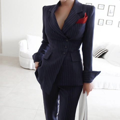 Fancy Striped Women's Pants Suit-Suit-LeStyleParfait.Co.Ke