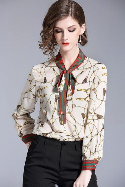Fashion Blouse Women Elegant Chiffon Blouse-Blouse-Kenya-LeStyleParfait.Co.Ke
