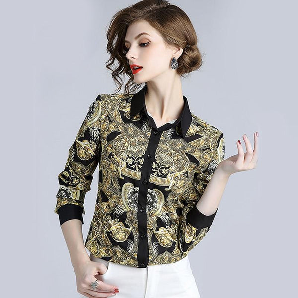 Fashion Women Blouse Long Sleeve Shirt Vintage-Blouse-Kenya-LeStyleParfait.Co.Ke
