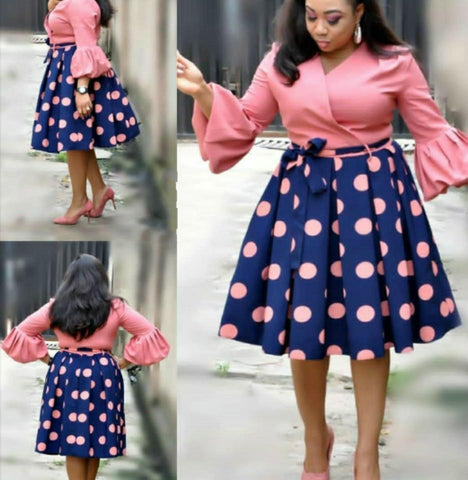 Flared Sleeves Polka Dots Dress-Dress-Le Style Parfait Kenya