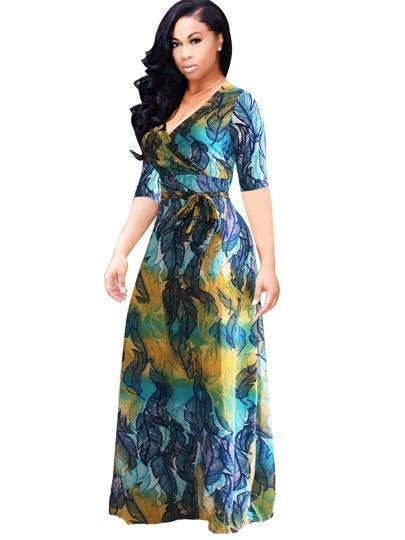 Floral Dress V Neck Plus Size Maxi Dress-Kenya-LeStyleParfait.Co.Ke