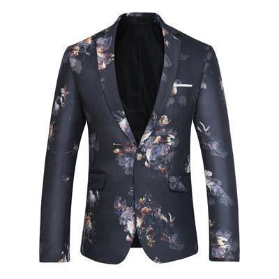 Floral Men's Blazer One Button Blazer Black-Blazer-Kenya-LeStyleParfait.Co.Ke