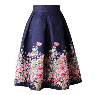 Floral Skirt Women Pleated Skirt High Waist-Skirts-Kenya-LeStyleParfait.Co.Ke