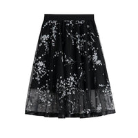 Floral Skirts Embroidery Lace Skirts Pleated-Skirts-Kenya-LeStyleParfait.Co.Ke