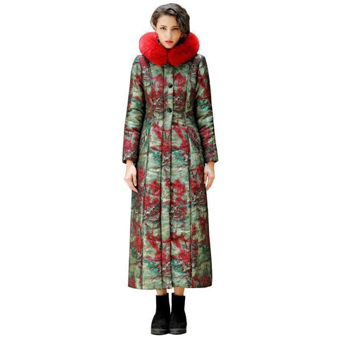 Floral Women Coat, Winter Parkas, Plus Size-Women Coats-S-Le Style Parfait Kenya