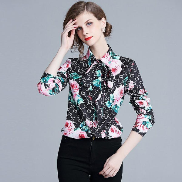 Floral Women Shirt Chain Print Women Blouse-Blouse-Kenya-LeStyleParfait.Co.Ke