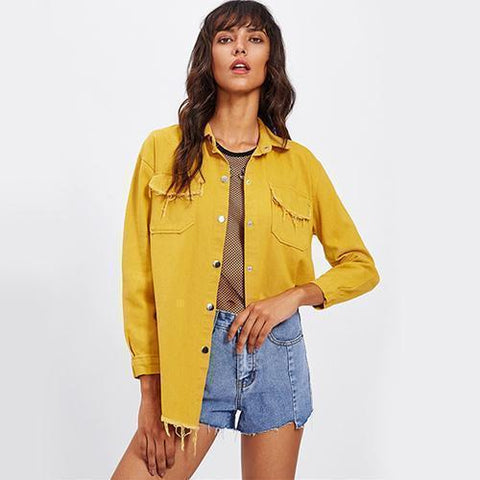 Frayed Yellow Denim Jacket Single Breasted Women Jacket-Jacket-One Size-Le Style Parfait Kenya