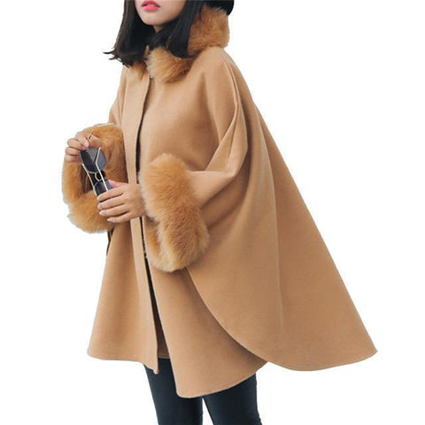 Fur Winter Coat For Women, Batwing Sleeves-Women Coats-Khaki-Le Style Parfait Kenya