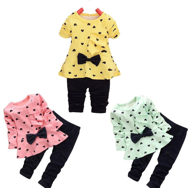 Girls Clothing Set Baby Sets Heart-Shaped Print Bow Cute T Shirt, Pants-Children's Clothing Set-Kenya-LeStyleParfait.Co.Ke