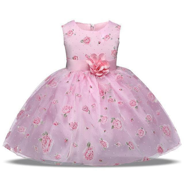 Girls Dress Pink Princess Lace Flower Girl Dress 4-10 Years-Girls Dresses-Kenya-LeStyleParfait.Co.Ke