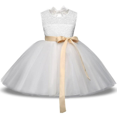 Girls Dress Princess White Lace Flower Girl Dress 4-10 Years-Girls Dresses-Kenya-LeStyleParfait.Co.Ke