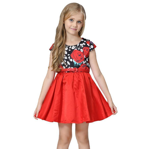 Girls Floral Dresses With Belt Girls Summer Dress-Girls Dresses-Kenya-LeStyleParfait.Co.Ke