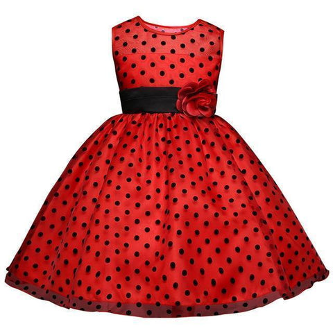 Girls Polka Dots Dresses Princess Lace Flower Girl Dress 4-10 Years-Girls Dresses-Kenya-LeStyleParfait.Co.Ke