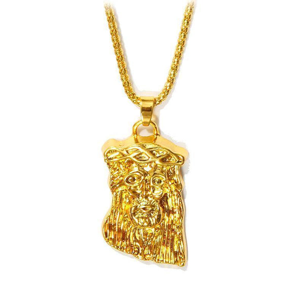 Gold Plated Necklace Jesus Piece Necklace Hip pop Jesus Pendant+75 Chain-Necklaces & Chains-LeStyleParfait.Co.Ke