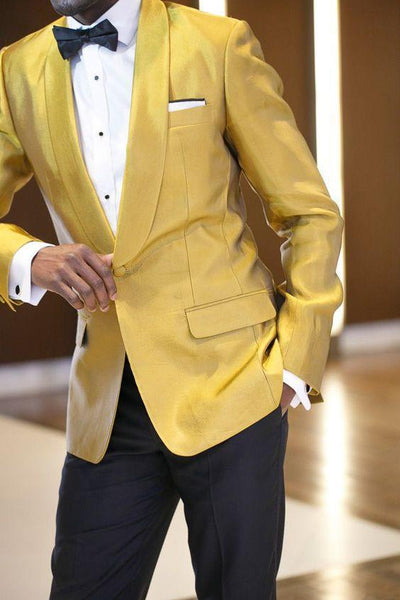 Gold Satin Shawl Lapel Men's Suit Slim Fit 2 Piece Tuxedo Suit-Suit-Kenya-LeStyleParfait.Co.Ke