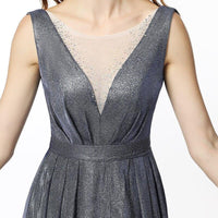 Grey Long Evening Dress, Illusion Party Party-Dress-Kenya-LeStyleParfait.Co.Ke