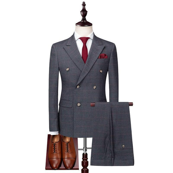 Grey Plaid Men's Suit Double Breast Suit-Suit-Kenya-LeStyleParfait.Co.Ke