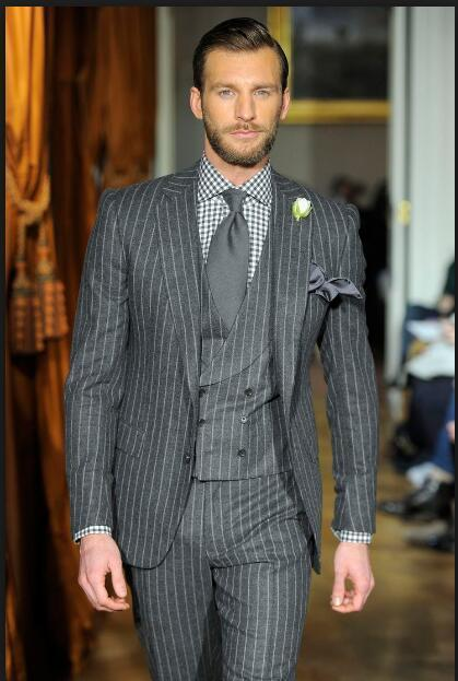 Grey Stripes Men's Suit Slim Fit 3 Piece Tuxedo Plus Size Suit-Suit-Kenya-LeStyleParfait.Co.Ke