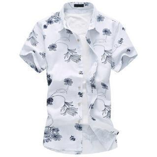 High Quality Short Sleeve Men's Shirts Summer Fashion Big Size Slim Fit Flower Shirt-Shirt-LeStyleParfait.Co.Ke
