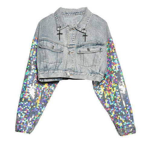 Jeans Jacket Women Street Fashion Crop Jacket-Jacket-Blue-Le Style Parfait Kenya
