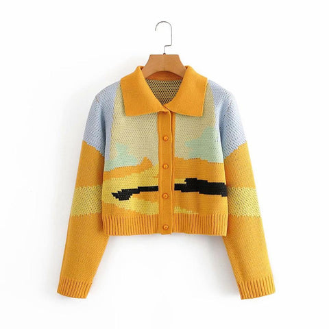 Landscape Crop Cardigan Sweater For Women-Sweater-Online-Shopping-Kenya-LeStyleParfait