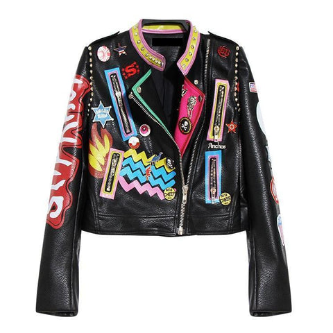 Leather Jacket Women Punk Heavy Metal Street Fashion Jacket-Jacket-Le Style Parfait Kenya