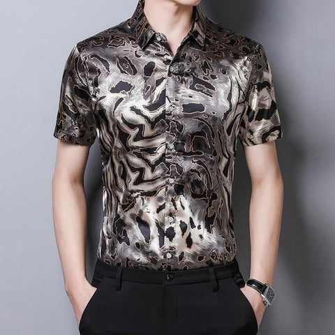 Leopard Print Satin Silk Shirt For Men-Shirt-LeStyleParfait.Co.Ke