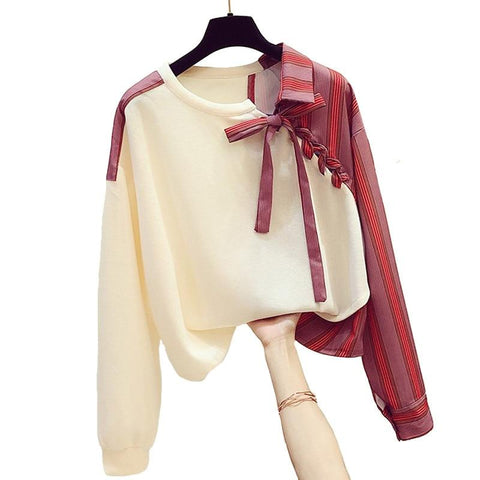 Liana Irregular Stitch Women Tops-Blouse-LeStyleParfait.Co.Ke