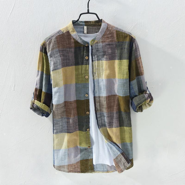Linen Shirts Men's Casual Shirts Patchwork Long Sleeve Shirt-Shirt-Kenya-LeStyleParfait.Co.Ke