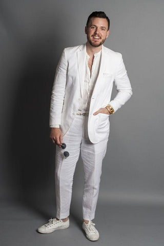 Linen Wedding Suits Beach Men's Suit Slim Fit 2-Piece White-Suit-Kenya-LeStyleParfait.Co.Ke
