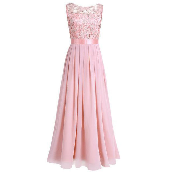 Long Prom Dress, Embroidered Chiffon Bridesmaid Dress-Dress-Kenya-LeStyleParfait.Co.Ke