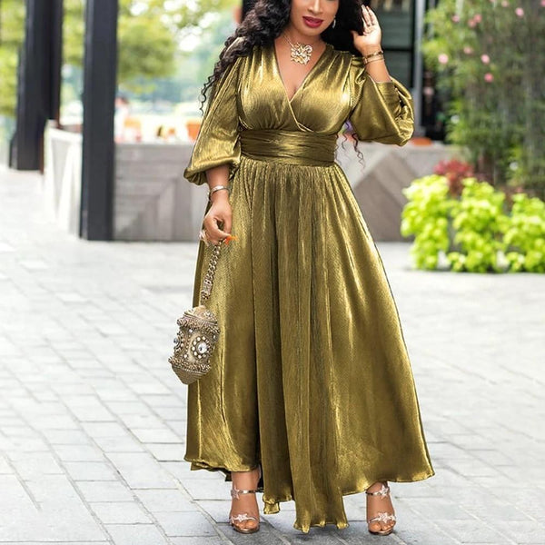 Luxury Golden Glitter Party Dress, Lantern Sleeve Dress-Dress-Kenya-LeStyleParfait.Co.Ke