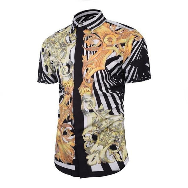 Men Casual Shirt Flower Print Short Sleeve Shirt-Shirt-Kenya-LeStyleParfait.Co.Ke