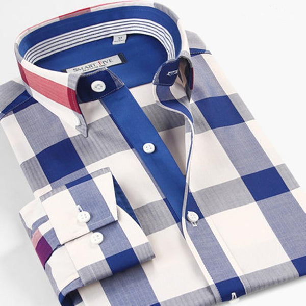 Men Dress Shirts 100% Cotton Plaid Shirt Men Plus Shirt Size-Shirt-Kenya-LeStyleParfait.Co.Ke