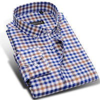 Men Dress Shirts, Long Sleeve Plaid Dress Shirts, High-quality 100% Cotton-Shirt-Kenya-LeStyleParfait.Co.Ke