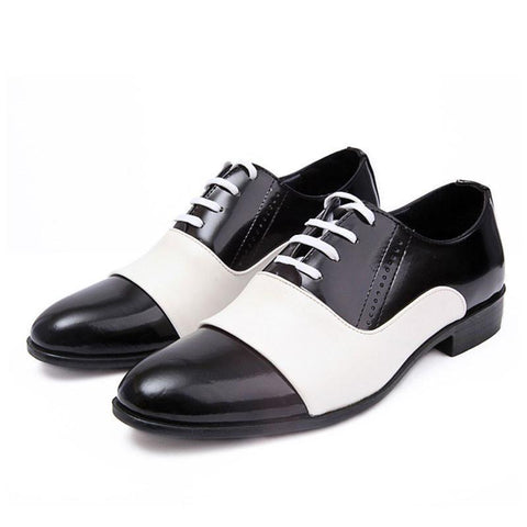 Men Fashion PU Patent Leather Shoes, White, Black, Size 39-44-Shoes-white and black-Le Style Parfait Kenya