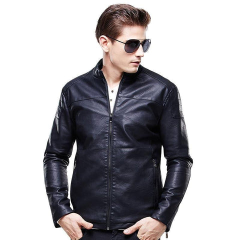Men Faux Leather Jacket Fashion Casual Motorcycle Leather Jacket-Jacket-Le Style Parfait Kenya