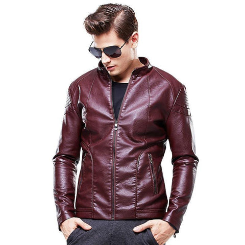 Men Leather Jacket Motorcycle Jacket High Quality Men's Clothing-Jacket-Le Style Parfait Kenya