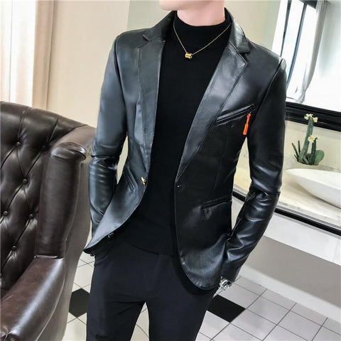 Men's Blazer Faux Leather Blazer Slim Fit-Blazer-Kenya-LeStyleParfait.Co.Ke