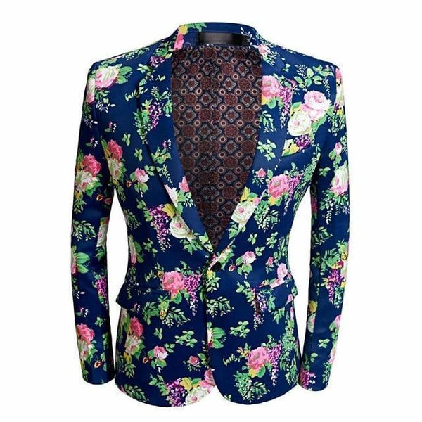 Men's Blazer Floral Casual Party Blazer Slim Fit-Blazer-Kenya-LeStyleParfait.Co.Ke