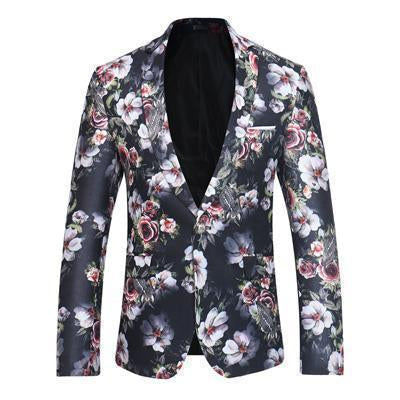 Men's Blazer Floral One Button Blazer Black-Blazer-Kenya-LeStyleParfait.Co.Ke