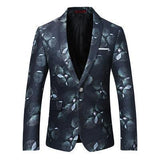 Men's Blazer One Button Blazer Black Floral-Blazer-Kenya-LeStyleParfait.Co.Ke