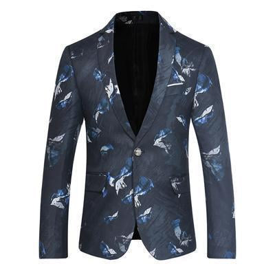 Men's Blazer One Button Blazer Blue Flowers-Blazer-Kenya-LeStyleParfait.Co.Ke