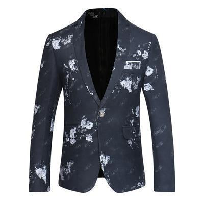 Men's Blazer One Button Blazer White Floral-Blazer-Kenya-LeStyleParfait.Co.Ke