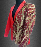Mens Blazers With Embroidery Gold Sequins, Men's Fashion Blazer, Plus Size, Red, Black-Blazer-LeStyleParfait.Co.Ke