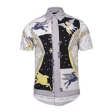 Men's Casual Shirt Flying Horse Vintage Print Short Sleeve Shirt Men Shirts-Shirt-Kenya-LeStyleParfait.Co.Ke