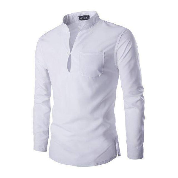 Mens Casual Shirts, Mandarin Collar Slim Fit Shirts-Shirt-Kenya-LeStyleParfait.Co.Ke
